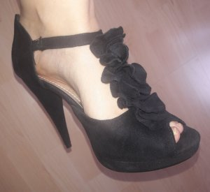 Schwarze Sandaletten aus Veloursleder-Imitat