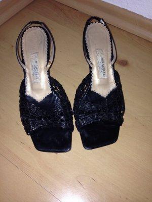 schwarze Sandaletten m. Absatz, Slingback,schwarz, Leder, Gr. 38, Made in Italy