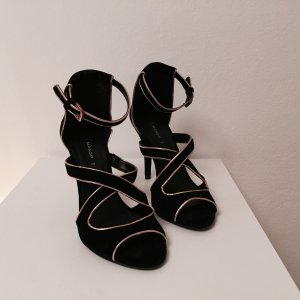 Mango High-Heeled Sandals black-gold-colored