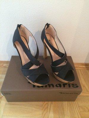 Schwarze Sandaletten mit Kork