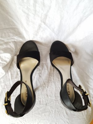 Tamaris Strapped High-Heeled Sandals black-gold-colored