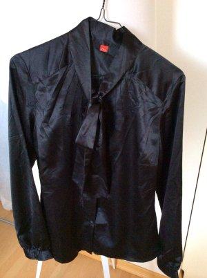Schwarze Satin-Bluse, mit Schluppe, nur 1x getragen