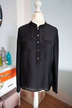 H&M Stand-Up Collar Blouse black-gold-colored