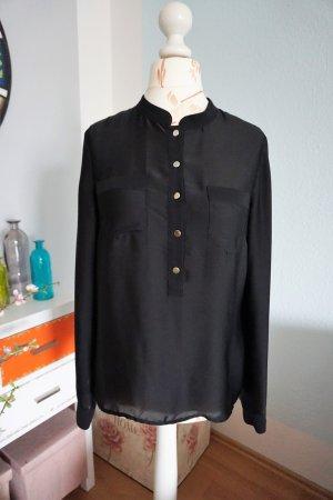 schwarze Satinbluse mit Stehkragen von H&M