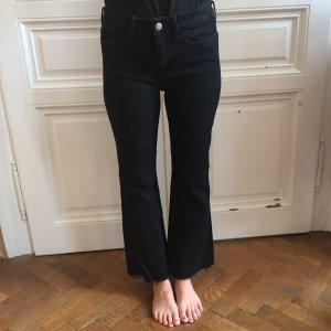 Schwarze Schlag Jeans mit Fransen