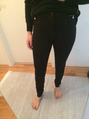 Schwarze schlichte High Waist Hose von H&M