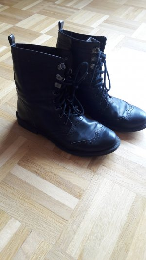 H&M Lace-up Booties black imitation leather