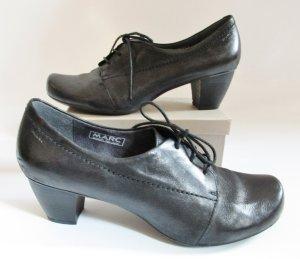 Schwarze Schnürpumps MARC Größe 40 Leder Antikoptik Hochfront Schuhe Business Halbschuh