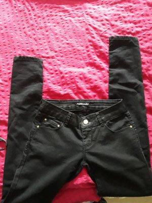 schwarze Skinny Jeans Kunstlederrand 36 S