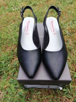 Tamaris Slingback pumps zwart Leer