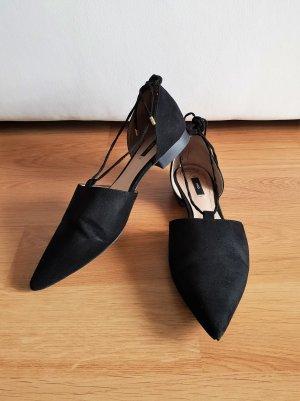 Mango Ballerina's met kant zwart-goud Imitatie leer