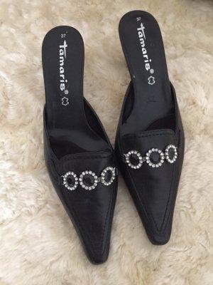 Tamaris Heel Pantolettes black-silver-colored