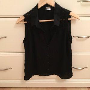 Schwarze Spitzen Bluse