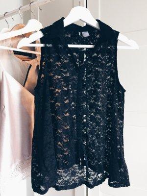 Schwarze Spitzen Bluse H&M
