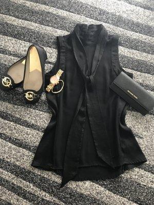 Schwarze Stehkragen Bluse mit Schleife