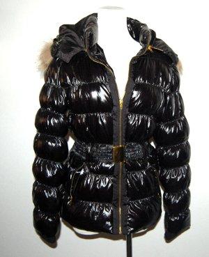 schwarze Steppjacke mit Kapuze und Gürtel Gr.S