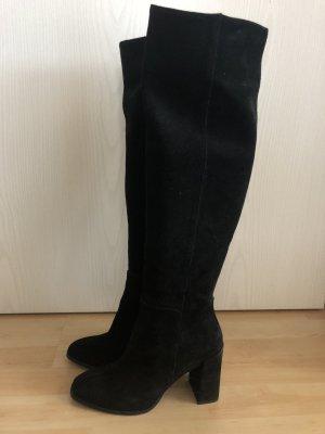 Schwarze Stiefel aus Verlourleder Gr. 39