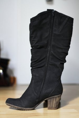 Schwarze Stiefel Gefüttert Echtleder Trend