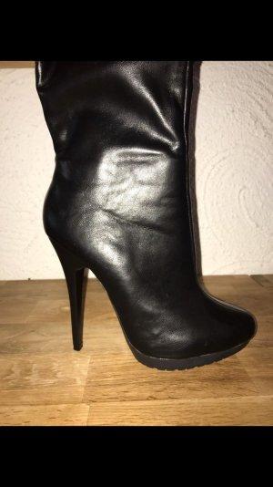 Schwarze Stiefel Glitzer High Heel
