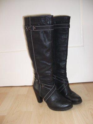 schwarze Stiefel Lederimitat Gr.36