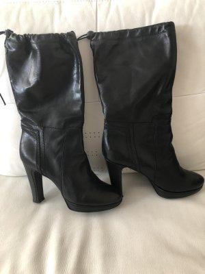 Schwarze Stiefel mit Block Absatz Leder