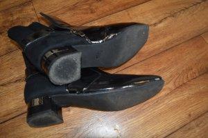 schwarze Stiefeletten Velour und Lack Gr.40 MarcoTozzi