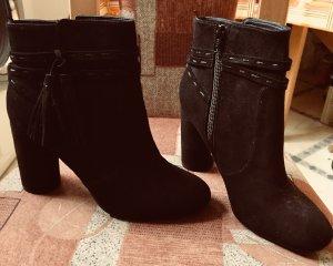 Schwarze Stiefelletten mit Blockabsatz
