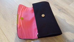 Schwarze Stoff-Clutch/Pochette mit pinkem Innenfutter neu mit Etikett