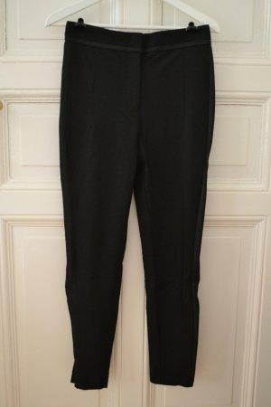 Schwarze Stoffhose mit seidigem Seitenstreifen Bleistifthose Zigarettenhose High Waist von H&M