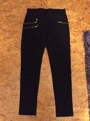 Schwarze Stretch Hose mit Fake Reisverschluss