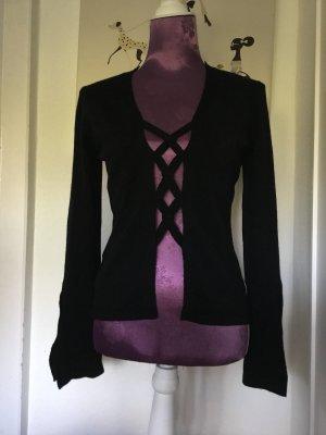 Schwarze Strickjacke aus Wolle