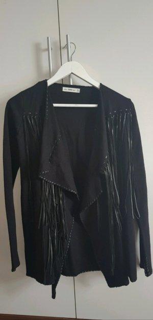Zara Giacca in maglia nero Poliestere