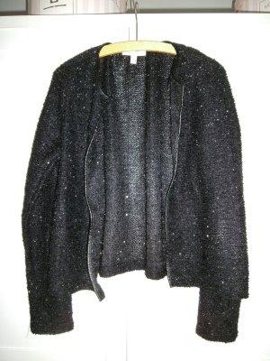 Schwarze Strickjacke von Esprit mit Glitzerfäden und Lederrand Größe XL