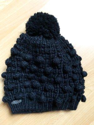 Schwarze Strickmütze Rip Curl mit Bommel