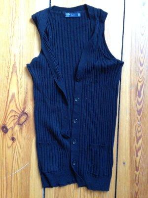Schwarze Strickweste (Rippstrick) von Zara