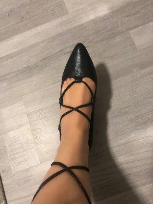 Schwarze Süße Ballerinas mit Schnürung