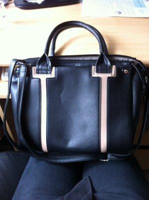 Schwarze Tamaris Echtledertasche mit Absätzen in beige
