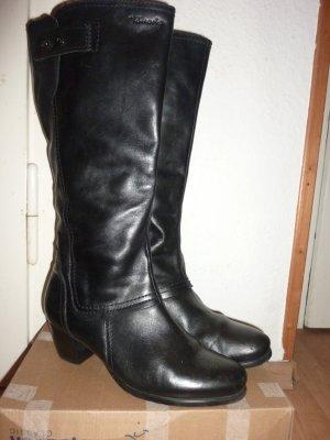 schwarze Tamaris Lederstiefel weit Blockabsatz Gothic