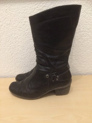 schwarze Tamaris Stiefel / Kurzstiefel / Weitschaftstiefel-Gr. 38