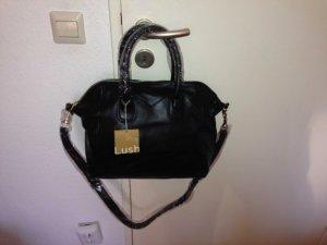 schwarze Tasche aus Leder / Ledertasche, schwarz, goldene Hardware, NEU!