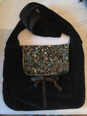 Schwarze Tasche aus Samt von Massimo Dutti
