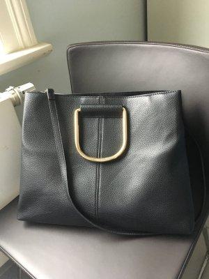 Schwarze Tasche Leder optik Gold schick Business Schule