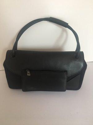 Schwarze Tasche Leder Stoff Mix Bally