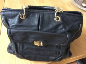 Zara Handbag black-gold-colored imitation leather