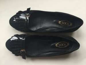 Tod's Patent Leather Ballerinas black suede