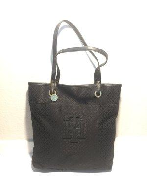 Schwarze TOMMY HILFIGER Nylon Logo-Handtasche
