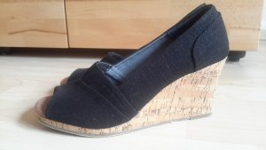 Toms Wedge Sandals black textile fiber