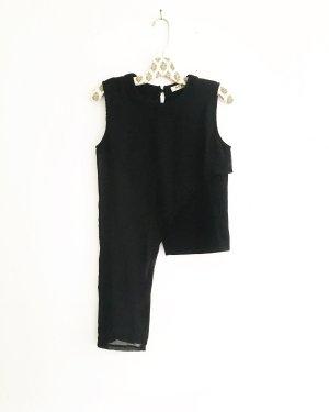 schwarze top / chiffon / vintage / asymmetrisch / schlicht / classy