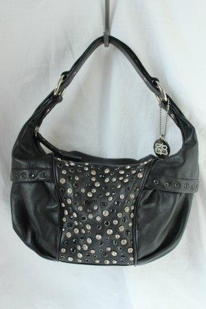 Schwarze Tosca Blu Lederhandtasche mit echten Swarovski Steinen, Nano Bag