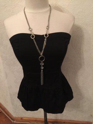 Schwarze Trägerlose Bluse